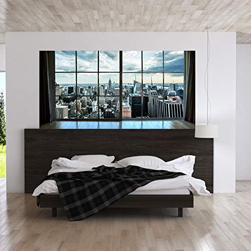 Manhattan city 3D Wandbilder PVC Selbstklebende Wandaufkleber Tür Aufkleber Treppen aufkleber Wohnzimmer Küche Tapeten Aufkleber Hause 90 * 180 cm
