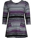 Pont Neuf Damen Shirt Lotte 3/4 Arm Lila Grau A Linie A Form große Größen elegant A-Linie, Größe:52/54