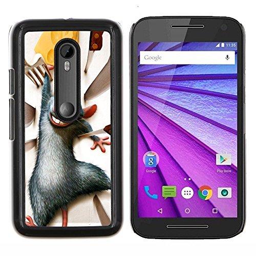 YiPhone /// Premium Slim Snap caso della copertura posteriore Armatura Shell - Ratto Roditore Grigio formaggio personaggio dei cartoni animati - Motorola MOTO G3 / Moto G (3nd Generation)