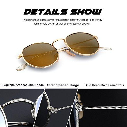 CGID E47 Petites lunettes de soleil polarisées inspirées du style retro vintage Lennon en cercle métallique rond 0S4ydyZ
