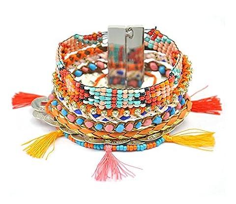 BeyDoDo Modeschmuck Damenarmband Handgemachte Geflochtene Multilayer Armreif mit Quaste Perlen Boho Beadarmband Freundschaft Armbänder für (Krone Für Weihnachten Szenen)