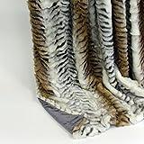 Luxus Kuscheldecke Wohndecke Tagesdecke Fellimitat aus hochwertigem Material, Tiger/grau, ca. 150 cm x 200 cm