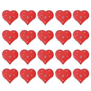 Amosfun 20 stücke led brosche Herz brosche rot Valentinstag Weihnachten Festival Geburtstagsfeier Hochzeit Silvester Party schmuck Geschenk partyzubehör