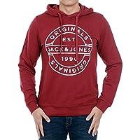 Jack & Jones Sweatshirt Men Long Sleeve Bordeaux 12131654 JORSLACK Sweat Hood Cordovan/Slim