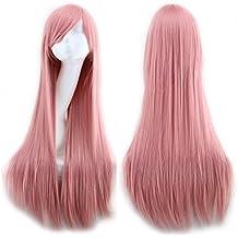 "32"" 80CM Peluca de pelo largo liso para mujer cosplay fiesta peluca sintética de moda calor resistente (rosa)"