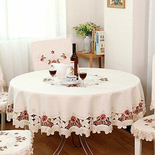 Weiße Rustikale Esstisch (ShineMoon All Season Textilien Küche Esstisch Tuch Bezüge, rustikale Bestickt Blumen aus weiß Tischdecke für Hochzeit Party)