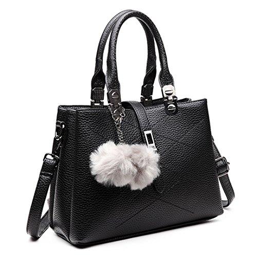 Miss LuLu Handtasche Damen Umhängetasche Aktentasche PU Leder Elegant für Frauen E1751-Schwarz