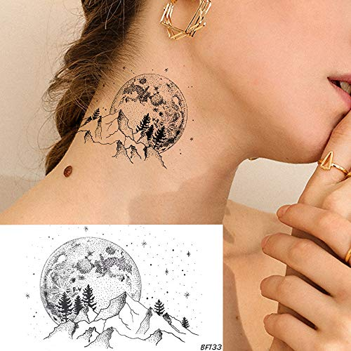 Tzxdbh autoadesivi del tatuaggio temporaneo della montagna delle donne della luna nera delle autoadesive di 5pcs le stelle piccole degli uomini della valle di tatuaggi impermeabili