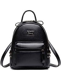 4415f6d011ae3 Honeymall Damen Klassisch Kontrastfarbe Rucksäcke PU Leder Taschen Elegant  Adrette Art Freien Rucksack
