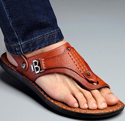 Beauqueen Dual-Use Männer gesunde Outdoor Sandalen Clip Toe Hausschuhe Einfache Strand Breathable Anti-Rutsch Casual Sandalen 38-44 Khaki