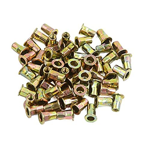 DealMux 60 Pcs M4 Bronze Tone Carbon Steel Thread Half