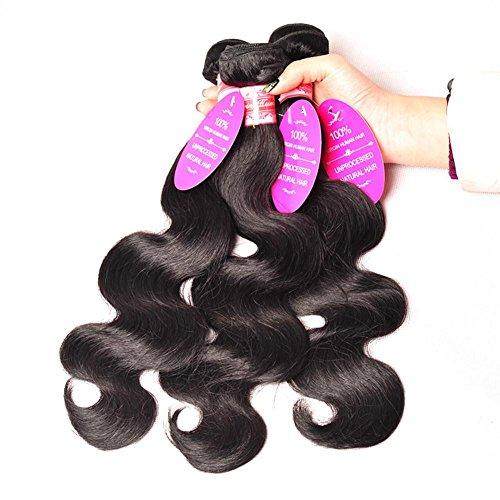 Offay 3 bündelt 100 % unverarbeitete Mix Zoll brasilianische Körper Welle Jungfrau menschlichen Erweiterungen natürliche schwarze Haarfarbe , 12 14 16
