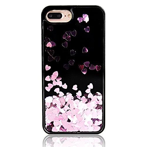 iPhone 6sPlus Hülle, Kristall Tranpsarent CLTPY iPhone 6Plus Glitter Sparkles Cool 3D Fließen Flüssig Bling Schwimmend Treibsand Liebe Luxus Shiny Shale Etui für Apple iPhone 6Plus/6sPlus + 1 x Stift  Rosa