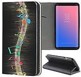 Samsung Galaxy S6 Edge G925 Hülle Premium Smart Einseitig Flipcover Hülle Samsung Galaxy S6 Edge G925 Flip Case Handyhülle Galaxy S6 Edge G925 Motiv (244 Musik Noten Schwarz Blau Rot Gelb)