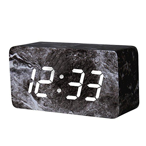 Madera Despertador Digital Negro LED Display Wake