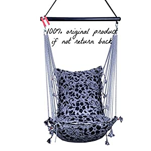 Kkriya Home Decor™ Jumbo Hammock N Swing in Black & Silver Design (Black)