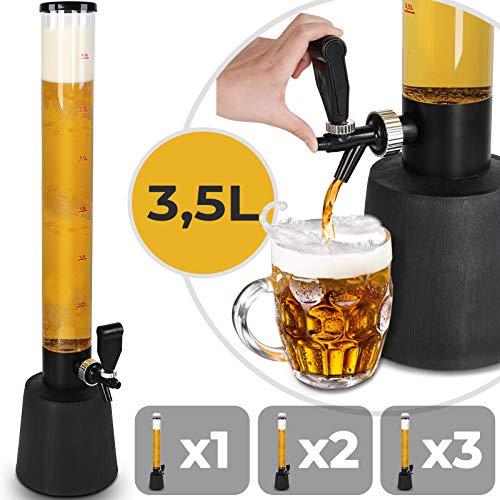 Biersäule mit Zapfhahn | 3.5L Volumen, 90cm Hoch | Menge Auswählbar | Biertower, Getränkesäule, Trinksäule, Bierspender