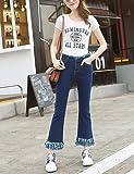 PAN&PAN Femme Ample Jeans Entreprise Pantalon,Décontracté   Quotidien simple Couleur Pleine Franges Taille Haute fermeture Éclair Bouton Coton