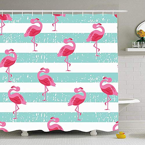 May--Temple-Shower curtain Duschvorhang für Badezimmer Teal Bird Beachy Flamingo Tiere Wildlife Pattern Pink Skateboard Cute Badeanzug Surf Drop Skate Wasserdicht -