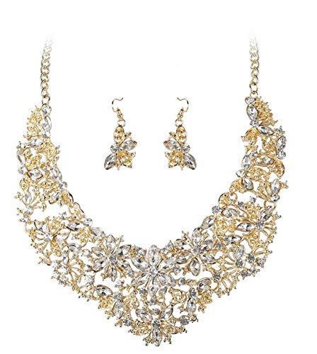Finrezio Statement Halskette mit Blumen Chunky Kollier Choker Statementkette Schmuck-Sets für Damen Mama Brautjungfer Goldton