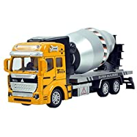 Inertia Toy Construction Vehicles, Pawaca Friction Powered Cement Mixer Truck Engineering Construction Building Truck Educational Toys for Kids Gift (7.5 Inch)