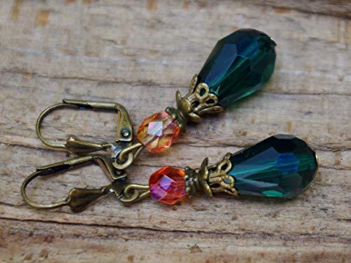 DIE LETZTEN!!! Vintage Tropfen Ohrringe mit Glasperlen - Petrolgrün