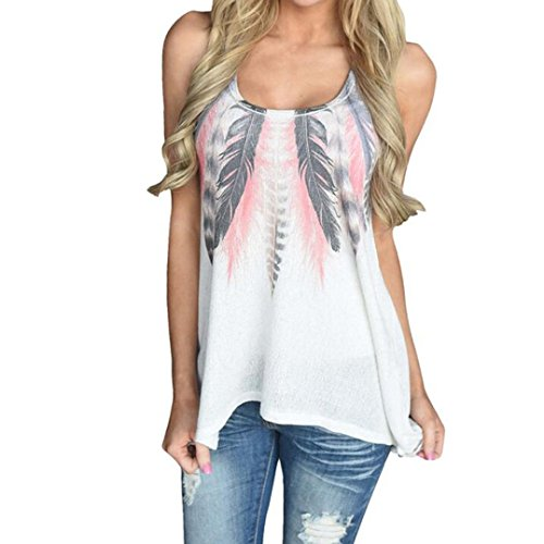 Tank Top Sleeveless Bluse (Damen Bluse, iHee Damen Sommer Mode Feather Sleeveless Printed Weste Shirt Bluse Casual Tank Tops T-Shirt (L, Weiß))