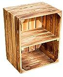 Massive Schuh- Bücherregalkiste Obstkiste Weinkiste Maße ca 50 x 40 x 31cm xxxaus dem Alten LandxxxWeinkisten Obstkisten Holzkiste Dekokiste Regal (Geflammt quer)