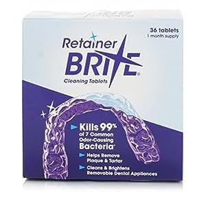 Retainer Brite - Tablette Nettoyante pour Appareil Dentaire contre La Plaque et le Tartre - Boite de 36