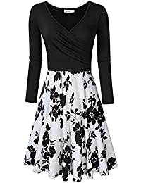 MISSKY Womens V-Neck A-line Floral Retro Party Dress