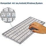BATTOP Ultradünne drahtlose Bluetooth Tastatur für alle iOS, iPad, Android, Mac, und Windows Geräte - Silberfarbe