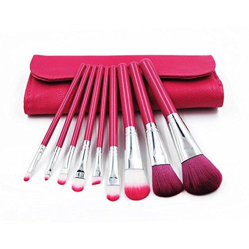 Maquillage Brosse, 9 Pcs/Set Lip Eyebrow Blush Fondation Mélange Poudre Ombre à Paupières Contour Concealer Beauté Joue Outil Cosmétique Kit 5 Couleurs (Color : Rose Red)