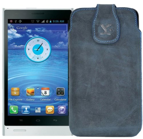 Original Suncase Tasche für / LG D686 G Pro Lite Dual SIM / Leder Etui Handytasche Ledertasche Schutzhülle Case Hülle / in pebble-blue