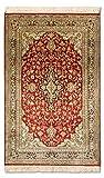Morgenland Seidenteppich Kaschmir Reine Seide 101 x 63 cm Rot Handgeknüpft