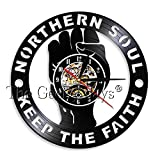 LTOOD Northern Soul Keep The Faith Vintage Reloj de Pared Northern Soul Disco de Vinilo Reloj Manchester Northern Hipster 60s Vintage Cloc