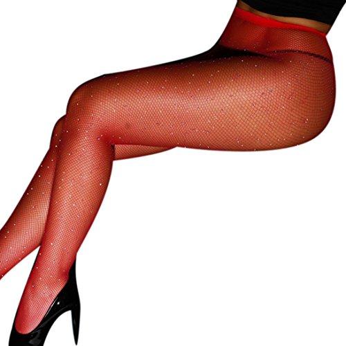 (URSING Sexy Frauen-Reizvolle Diamant Fischnetz Mesh Oberschenkel-hohe Strümpfe Elastische Spitze Strumpfhosen Pantyhose Tights Overknee Netzstrumpfhose Strass Strümpfe Socken (Rot))
