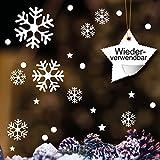 Fensterbild Schneeflocken Set – WIEDERVERWENDBAR – 23x Aufkleber im Set – Schneeflocken, Sterne und Punkte von Wandtattoo-Loft® / Fensteraufkleber