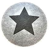 Platzset Filz Grau Gilde 4 er Set Rund Stern Dunkelgrau D ca 35 cm Waschbar Edel und Trend