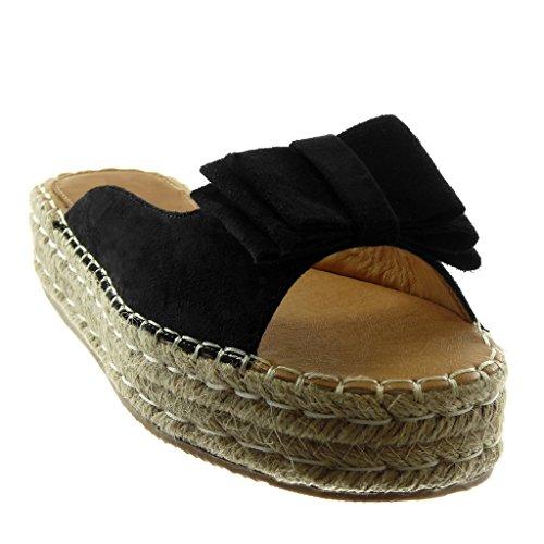 Angkorly Chaussure Mode Sandale Mule Slip-On Plateforme Femme Noeud Corde Tréssé Talon Compensé Plateforme 4 CM Noir