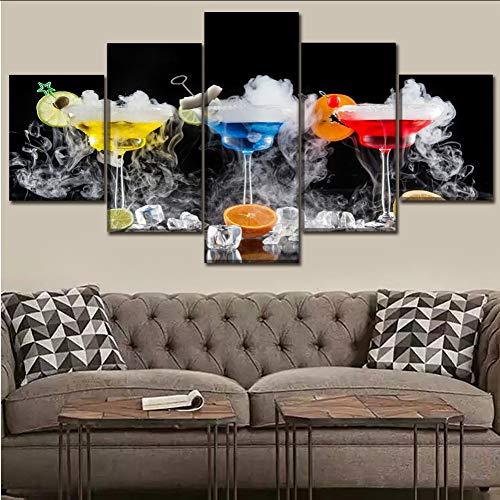 myvovo (Kein Rahmen) Leinwand Bild Wandkunst Dekoration Party 5 stücke Cocktail Trinkglas Obst Malerei Eiswürfel Rauch Moderne Malerei Druck Art Poster