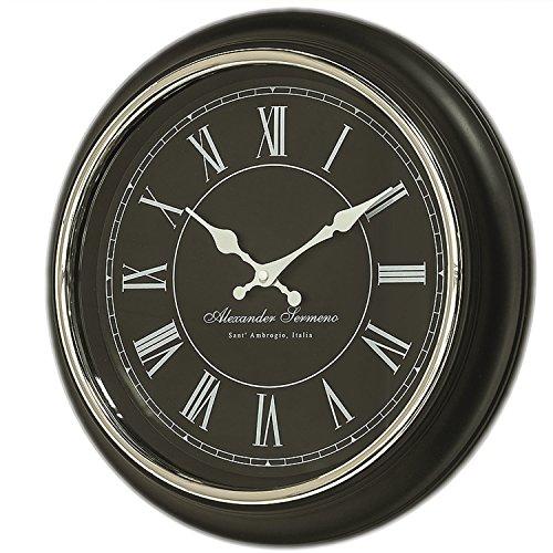 LS-LebenStil XL Vintage Wanduhr Schwarz Weiß 40cm groß Antik Küchenuhr Bürouhr