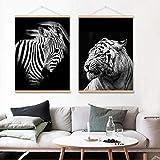 zxddzl Clásico Moderno Blanco y Negro Animal león Calabaza Leopardo Cartel Lienzo Pintura decoración de la Pared 30 * 40