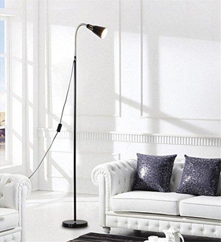 KDLD Stehleuchten ® Stehlampe Modernes Lese-Stehlampe-Standplatz-Standlicht für Wohnzimmer-Schlafzimmer-Hotel und justierbares Metall-Schwanenhals-flexibles Rohr mit Knopf-Schalter (E27 Schrauben-Mund, 220V, Birnen nicht eingeschlossen)