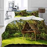 MIGAGA Bettwäsche-Set, Mikrofaser,Tiki Hut in der träumerischen Fantasie Forest Tropical Island-Grün-Kunst,1 Bettbezug 200 x 200cm+ 2 Kopfkissenbezug 80x80cm