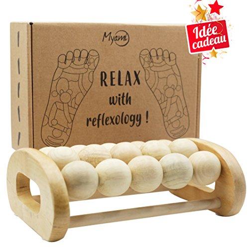 Rouleau de massage des pieds - Relaxation et soulagement des douleurs de pieds, talon, voûte plantaire, améliore la circulation sanguine jambes lourdes – Tableau de réflexologie acupression inclus