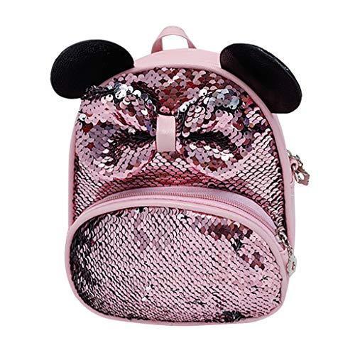 oon Tasche Pailletten-Rucksack mit Farbverlauf und Schleife Student Diagonale Umhängetasche Student Girls Cartoon Sequin Bow Crossbody Bag (Rosa, 19X8X20(cm)) ()