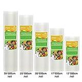 ATWFS Envases para Alimentos Bolsas de plástico para envasar al vacío 5 tamaño Rollos...