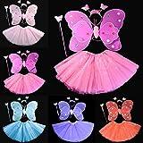 Kasit 4Pcs gesetztes feenhaftes Prinzessin-Schmetterlings-Partei-Kostüm-Flügel-Stab-Stirnband-Kleid-Mädchen-feenhafte Rod-feenhafte Prinzessin-Kostüm-Schule-Erscheinen - Rosen-Rot