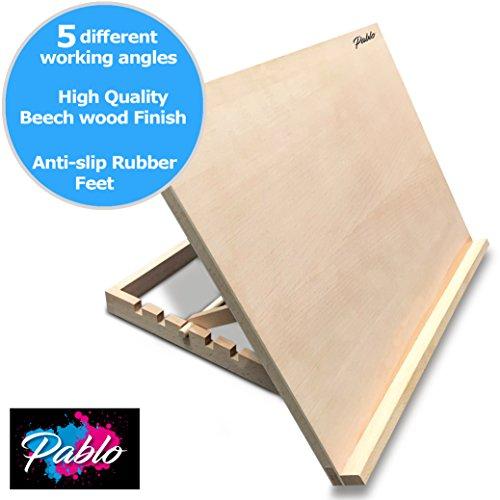 Pablo–A3–Estación de trabajo de arte y artesanía de madera A3Ajustable escritorio de madera/caballete de mesa A3