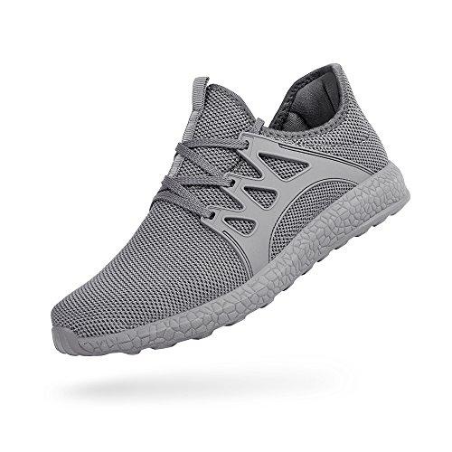 ZOCAVIA Herren Sportschuhe Laufschuhe Sneaker Atmungsaktiv Leichte Wanderschuhe Grau 47
